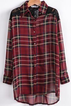 Red Contrast Lace Plaid Chiffon Blouse pictures
