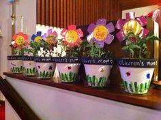 Mother's Day flower pots ... white paint base, chalkboard paint trim, fingerprint grass and bugs.
