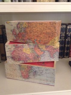 Cheese boxes Cheese Boxes, Decoupage, Vintage World Maps, Diy, Painting, Bricolage, Painting Art, Do It Yourself, Paintings