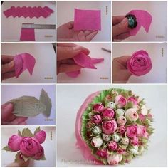 Creative Ideas – DIY Chocolate English Rose Half the fun is finding the hidden chocolates!Crepe+paper+flowers+look+like+natural+flowers+but+last+longer+and+won't+wilt+or+droop.+That's+why+they+are+very+popular+for+home+or+party decorations. Candy Flowers, Diy Flowers, Fabric Flowers, Flower Ideas, Tissue Paper Flowers, Paper Roses, Diy Paper, Paper Crafts, Paper Art