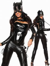 Black Faux Leather Catwoman Costume