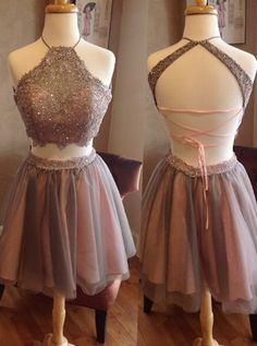 Fashion Two Piece Halter Short Grey Backless Homecoming Dress Beading Appliques