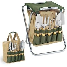 Picnic Time 5-Piece Garden Tool Set With Tote And Folding Seat ... Know the Girl, Know the Gift.
