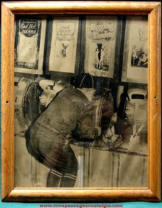 Old Framed Picture of Boy in Penny Arcade With Mutoscope Clamshell Risque Peep Shows