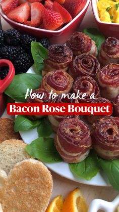 Brunch Recipes, Appetizer Recipes, Breakfast Recipes, Snack Recipes, Appetizers, Cooking Recipes, Snacks, Bacon Roses, Good Food