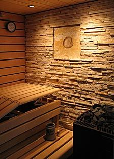 I like the slate wall in the sauna