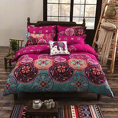Floral Duvet Cover Sets 4 Piece Cotton Pattern Reactive Print Cotton Full / Queen 1pc Duvet Cover / 2pcs Shams / 1pc Flat Sheet 4934465 2016 – $35.69
