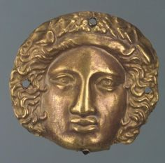 Plaque in the Form of the Head (Dionysius ? century BC Chertomlyk Barrow, Dnieper Area, near Nikopol Russia (now Ukraine) Source of Entry: Imperial Archaeological Commission, St Petersburg. Ancient Artefacts, Ukraine, Historical Artifacts, Ancient Jewelry, Dionysus, Ancient Greece, Antique Art, Ancient History, Archaeology