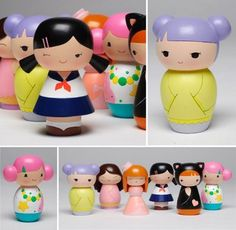 Momiji Dolls by ChocolatePixel on DeviantArt Momiji Doll, Kokeshi Dolls, Valentines Presents For Him, Diy And Crafts, Arts And Crafts, Clothespin Dolls, Wooden Pegs, Cute Little Things, Waldorf Dolls