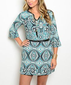 Look what I found on #zulily! Teal & White Geometric Notch Neck Dress by Shop the Trends #zulilyfinds
