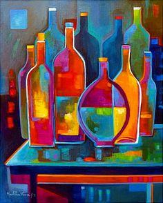 Cubist Abstract Painting Original Cubism Wine por MarlinaVera