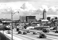 Los angeles Civic Center & Hollywood 101 Frwy 1954