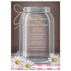 Bridal Shower Invitations - Mason Jar Daisy Pink Gingham
