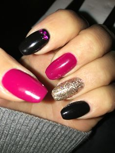 Pink, Black & Gold Nails with Purple Gems ❤️