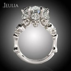 Four-Skull Design Engagement Ring #jeulia