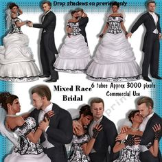 6 Mixed Race Bridal Wedding Poser Tubes by Michelle Johnson This is a set of 6 posers in png format approx 3000 pixels for any graphics program. These poser tubes are of an ethnic bride and caucasian groom. there are 3 head shots and three full length poser tubes which can be used for any male and female wedding day