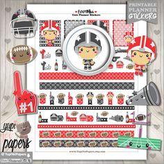 Football Stickers, Planner Stickers, Kawaii Stickers, Sport, Sports, Planner Accessories, American Football, Erin Condren