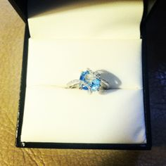 cushion cut, blue topaz & diamonds