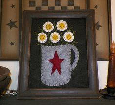Primitive Picture Penny Rug Flowers in Flowerpot Spring Summer Country Stitchery Prim Decoration Home Decor Decorative Accent UNFRAMED. $13.49, via Etsy. #handmade