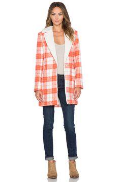 Lucy Paris State of Grace Plaid Coat in Burnt Orange