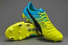 Puma evoPOWER 1.3 Leather FG - Mens Shoes - Firm Ground - Safety Yellow Black Atomic  Blue 6e1dd08461