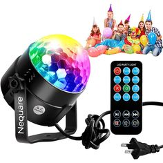 Nequare Party Lights Disco Ball Strobe Lights, Disco Lights Karaoke Machine 3W Dj Light LED Portable 7Colors Sound Activated Stage Lights for Festival Bar Club Party Outdoor and More (with Remote)         * Learn more by visiting the image link. (This is an affiliate link and I receive a commission for the sales)