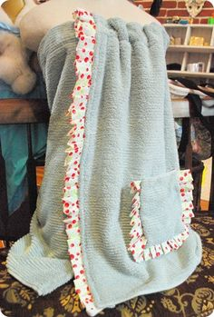 "DIY Spa/Shower Towel Wrap... Turn a towel and some fabric into a stylish spa wrap for you, your child, a friend, or family member. Easy ""simple sew"" towel wrap!"