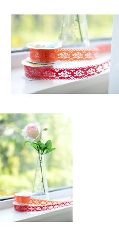 W2.5cm x 5 Sets Hollow Out Clear Lace Colorful Masking Lace Tape Sticker DIY Gift Wrapping Favor Photo Calendar Decoration Sticker KS173