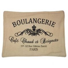 """Set of for cotton and linen-blend placemats in cream with French typographic detail.  Product: Set of 4 placematsConstruction Material: Cotton and linen-blend Color: CreamFeatures: French typographic detailDimensions: 14"""" x 22"""" eachCleaning and Care: Dry clean only"""