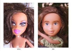 "Tree Change Dolls - ""Made under"" dolls with repainted faces and hand-knit clothes.  Love this!"