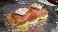 BabyBakes: Lemon Salmon Foil Packets - use olive oil instead of butter for Whole 30.