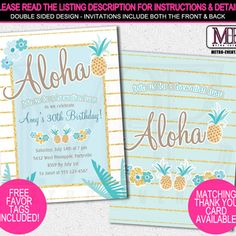 Luau Invitations, Hawaiian Party  | Metro-Events
