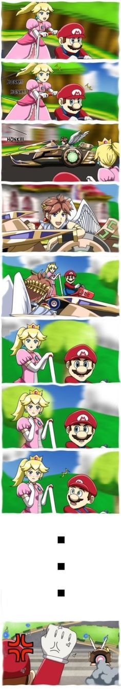 And this why Link and Isabelle are in Mario Kart, but not Pit. And why Mario was sort of reluctant to join Pit in Subspace Emissary. Mario Kart, Mario And Luigi, Super Smash Bros Brawl, Super Mario Bros, Video Game Memes, Video Game Art, Kid Icarus Uprising, Nintendo Characters, Estilo Anime
