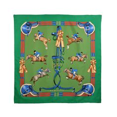 """Hermes Horse """"Jumping""""  Scarf   From a collection of rare vintage scarves at http://www.1stdibs.com/fashion/accessories/scarves/"""