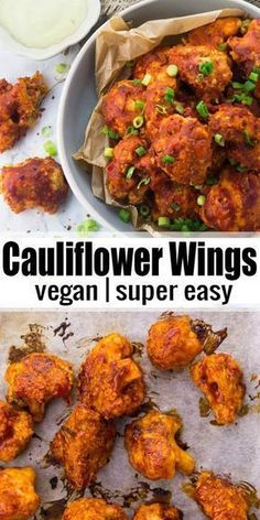 These vegan cauliflower wings are the perfect vegan comfort food! They're super easy to make and so delicious! More vegan recipes at veganheaven.org! #vegan #partyfood #wings