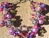 Lampwork bracelet with sterling silver swarovski crystals handmade SRAJD, Everglades. $95.00, via Etsy.