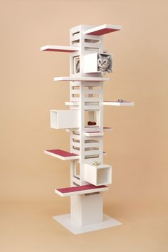 The Necobaco cat tree appears to be from Japan. This great cat furniture design allows cats to climb. The multi-functional structure can also be used as a bookshelf or plant shelf. Cat Habitat, Cat Climbing Tree, Diy Cat Tree, Cat Towers, Pet Furniture, Furniture Design, Cat Room, Cat Condo, Cat Wall