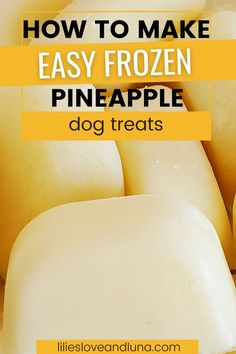 Easy to make frozen pineapple dog treats with only 2 ingredients. Homemade Dog Treats, Pet Treats, Easy Treats To Make, Frozen Dog Treats, Frozen Pineapple, Dog Treat Recipes, 2 Ingredients, Make It Simple, Dogs