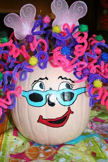 fancy nancy pumpkin decorating-could change the face, like the idea of pipe cleaners for hair! Pumpkin Books, Pumpkin Crafts, Pumpkin Ideas, Pumpkin Designs, Pumpkin Art, Pumpkin Decorating Contest, Pumpkin Contest, Decorating Pumpkins, Decorating Ideas