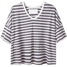 Alexander Yamaguchi Boxy Stripe Tee (1.325 ARS) ❤ liked on Polyvore featuring tops, t-shirts, shirts, tees, relax t shirt, striped t shirt, striped short sleeve shirt, striped shirts and short-sleeve shirt