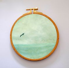 Maritime Fotokunst im Stickrahmen aus Holz / wooden embroidery frame filled with photo art by Frau-Bella via DaWanda.com