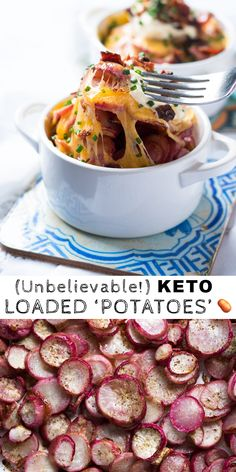 Low Carb & Keto Loaded 'Potatoes' (i.) Low Carb & Keto Loaded 'Potatoes' (i. Low Carb Chicken Recipes, Healthy Low Carb Recipes, Low Carb Desserts, Ketogenic Recipes, Diet Recipes, Dessert Recipes, Radish Recipes, Ketogenic Diet, Breakfast Recipes