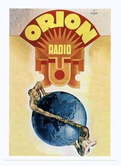 Orion rádió - Budapest.- Bruchsteiner Press Poster Vintage, Retro Vintage, Radios, Antique Radio, School Posters, Budapest Hungary, Illustrations And Posters, Eastern Europe, Tarot