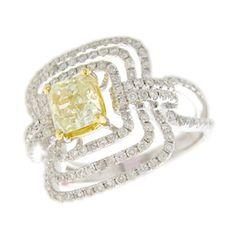 18KW .90ct Yellow Diamond Radiant .80ctw H. Emperor Diamond Ring.  I so want this!!!