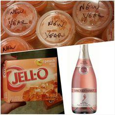 Jello shots. Peach Jello and pink moscato champagne! Delicious!