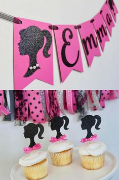 Barbie Birthday Banner, Barbie Birthday Party Decorations, Pink and Black Barbie Party, Barbie Silhouette, Barbie Decorations Barbie Party Decorations, Barbie Theme Party, Barbie Birthday Party, Fourth Birthday, 6th Birthday Parties, Birthday Fun, Birthday Ideas, Barbie Fairytopia, Bolo Barbie Paris