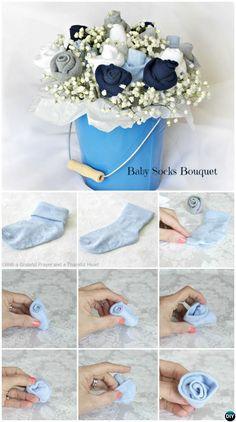 DIY Baby Socks Flower Bouquet-Handmade Baby Shower Gift Ideas Instructions