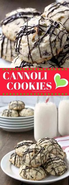 Holy Cannoli Cookies, easy Italian Christmas Cookies with chocolate chips, pistachios, and ricotta! Perfect for those Christmas cookie baskets and gifts! Cannoli Cookies Recipe, Yummy Cookies, Almond Cookies, Amaretti Cookies, Super Cookies, Gourmet Cookies, Cheesecake Cookies, Baking Cookies, Pumpkin Cheesecake