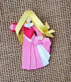 Aurora from Sleeping Beauty INSPIRED Ribbon Sculpture Hair Clip or Christmas Tree Ornament (Disney Princesses and Heroines)