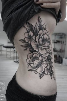 womans back flower tattoo black white - Google Search